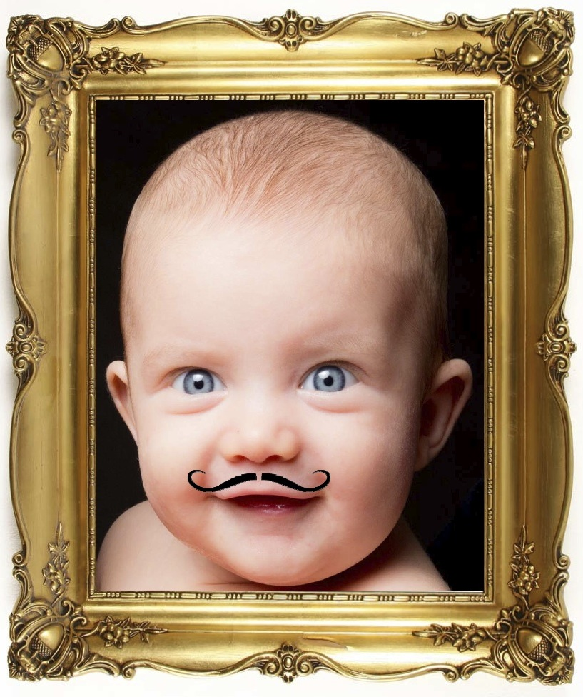 The-Curly-Moustache Baby In Frame